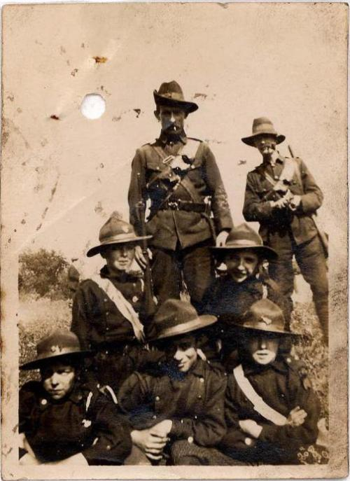 "A slouch hat on display. "" John Kelly of the Irish Citizen Army (back centre), and what appears to be young ICA scouts at the front."" (Image via the excellent: https://fiannaeireannhistory.wordpress.com/)"