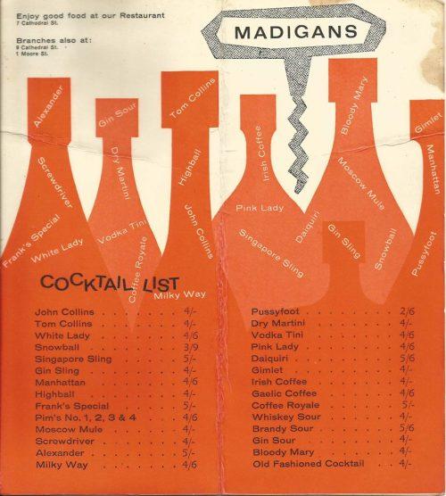 Madigans cocktail menu (2/2)