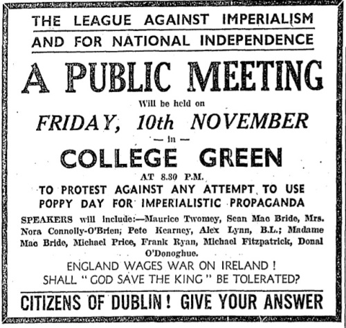 Advertisement for an anti-Poppy Day demonstration, November 1933.