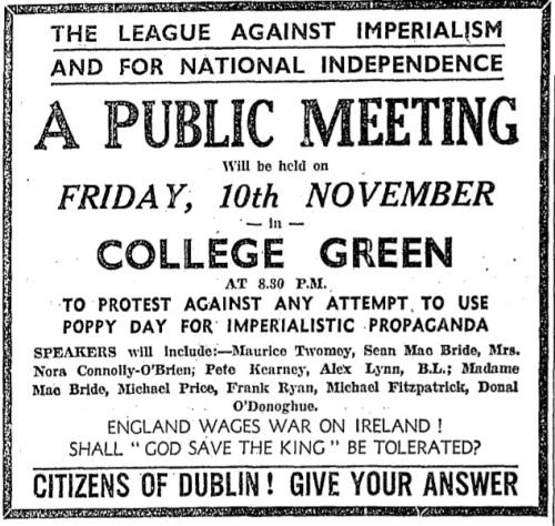 Advertisement for an anti-Poppy Day demonstration, November 1933.
