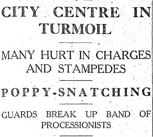 'City Centre in Turmoil' - The Irish Press reports on Armistice Day, 1932.