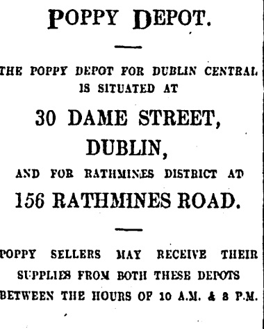 1930s advertisement for Dublin poppy depots.
