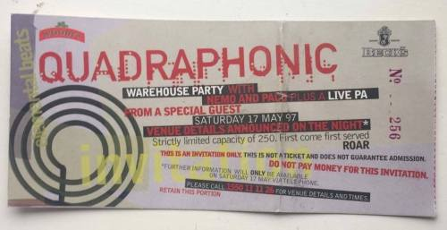 Ticket for 1997 Factory gig. Credit - Vince Donnelly.