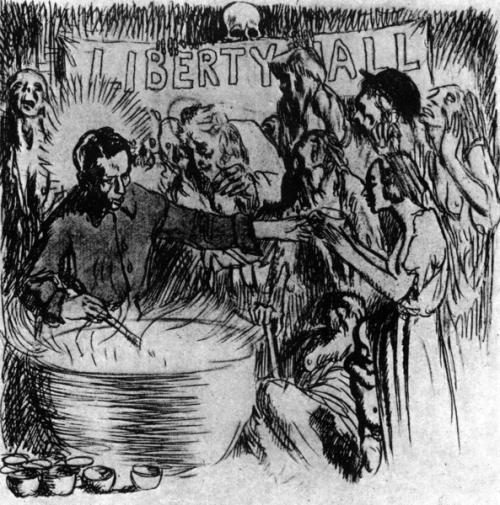 William Orpen's illustration of a Liberty Hall soup kitchen during Lockout (Credit: Multitext, UCC)
