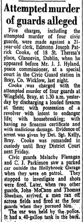 Eamonn Cooke newspaper report (Irish Times, 19 Feb 1957)