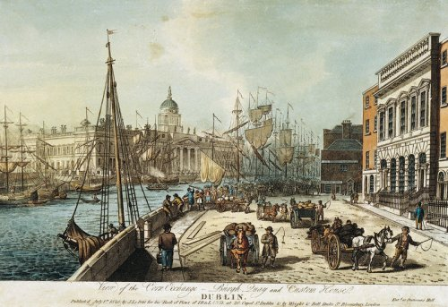 The Custom House viewed in 1820 from Burgh Quay showing the Corn Exchange on Burgh Quay and ships moored along the quays. Engraved by Henry Brocas. Credit - magnoliasoft.net