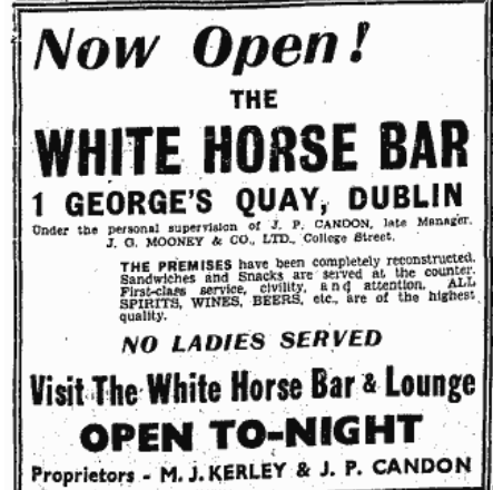 A second advertisement announcing the opening of The White Horse (Evening Herald, 26 September, 1941)