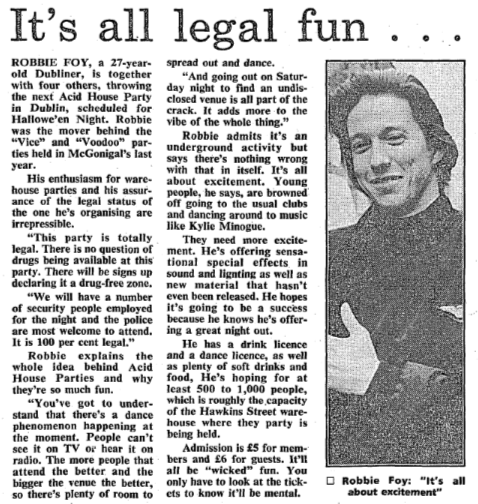 Robbie Foy/Acid House article. The Irish Independent - 28 October 1989.
