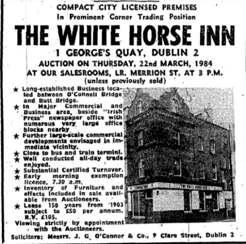 White Horse Inn for sale. The Irish Press - 2 March 1984.