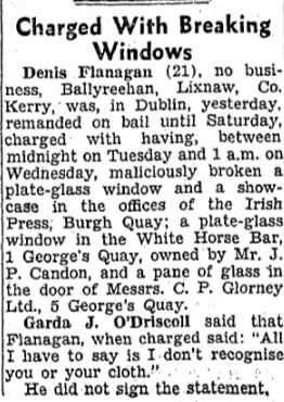 White Horse Bar windows smashed. The Irish Press - 13 June 1946.