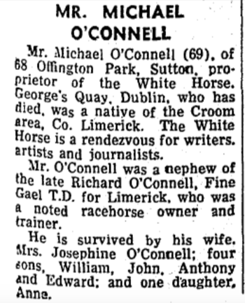 Michael O'Connel obit. The Irish Press - 10 March 1970.
