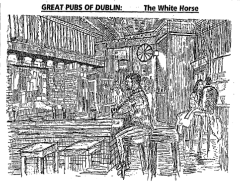 An etching of The White Horse, 1995. Credit - Irish Independent, 13, June 1995.