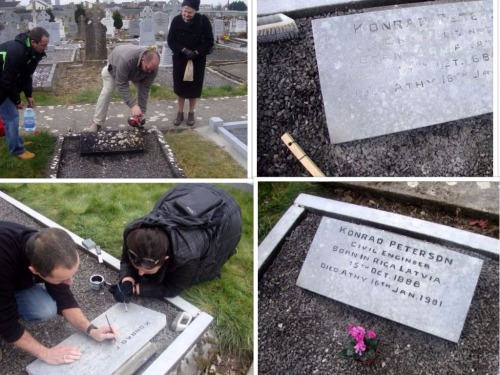 2013 grave cleaning of Conrad Peterson. Credit : http://baltic-ireland.ie/