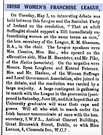 Newspaper 'Votes For Women', 6 May 1910.