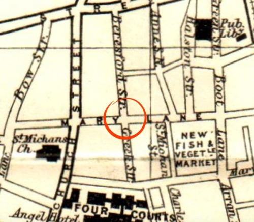 Location of the bonfire and shooting from 1913 Dublin Map.