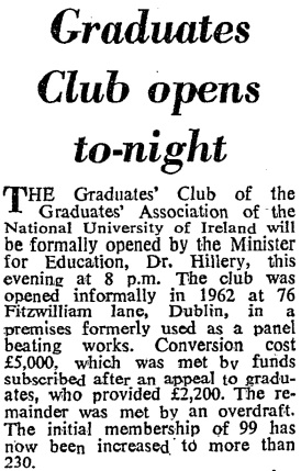 The Graduate Club at 76 Fitzwiilliam Lane. The Irish Times, 15 January 1964.
