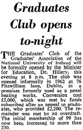 The Graduate Club at 76 Fitzwiilliam Lane. The Irish Times, 15 January 1964.