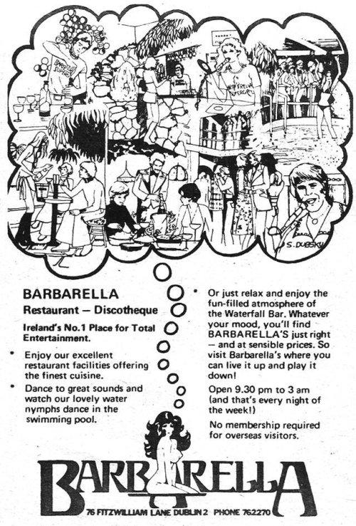 Barbella's advertisement, 1977. Credit - Brand New Retro.