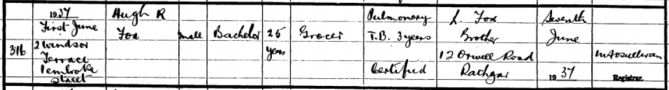 Hugh R. Fox, 1937 Death Registry. Credit - irishgenealogy.ie