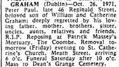 Death notice of Peter Graham. The Iris Times, 28 Oct 1971.