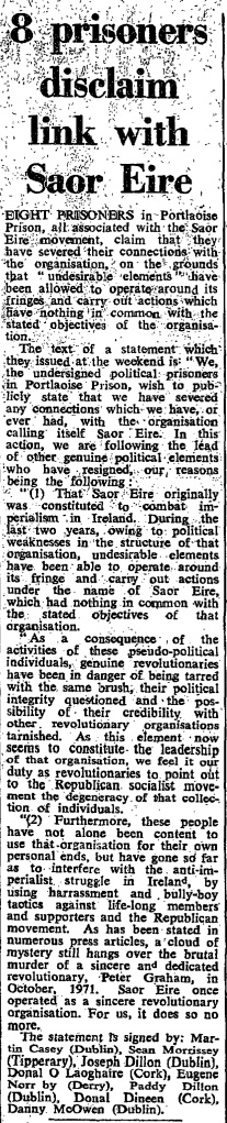 The Irish Times, 21 May 1973.