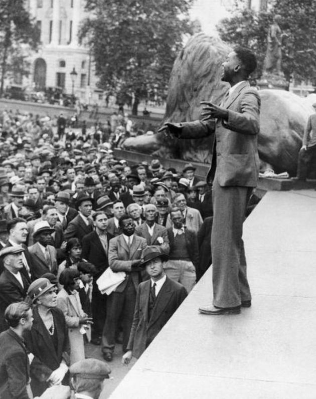 Speech Of A Man Against The Embargo In Ethiopia At Trafalgar Square In 1935